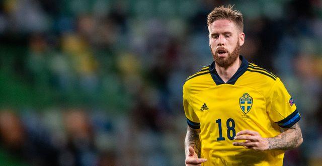 Pontus Jansson i den svenska landslagströjan. JOEL MARKLUND / BILDBYRÅN