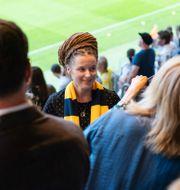 Kultur- och idrottsminister Amanda Lind (MP) på en fotbollsmatch i Stockholm 2019.  JOEL MARKLUND / BILDBYRÅN