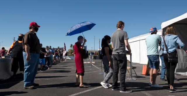 Väljare på kö för att förtidsrösta i Nevada.  Steve Marcus / TT NYHETSBYRÅN