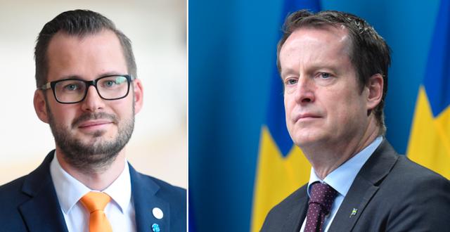 Mattias Bäckström Johansson (SD) och Anders Ygeman (S).  TT