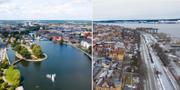Flygbilder över Eskilstuna och Östersund. TT
