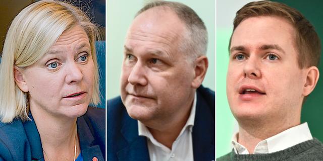 Magdalena Andersson, Jonas Sjöstedt och Gustav Fridolin. TT