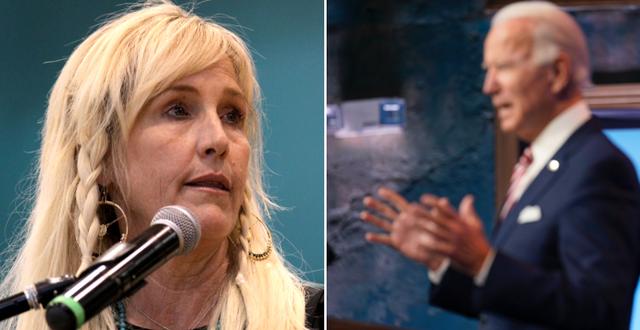 Erin Brockovich (t v), Joe Biden (t h). TT