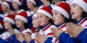 Nordkoreanska fans på läktaren under matchen mot Sverige. BRIAN SNYDER / TT NYHETSBYRÅN