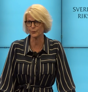 Elisabeth Svantesson vid dagens pressträff.