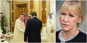 Stefan Löfven skakar hand med Saudiarabiens kung kung Salman bin Abdul Aziz . Margot Wallström. Arkivbilder.