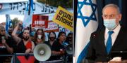 Demonstration mot Netanyahu i veckan (t v), Benjamin Netanyahu (t h). TT