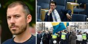 Daniel Poohl, Jimmie Åkesson (SD) och bild från lördagens demonstration i Stockholm. TT