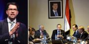 En bild av Martin Kinnunen och Markus Wiechel när de sitter vid ett möte under ett porträtt av president Bashar al-Assad har publicerats av den statskontrollerade nyhetsbyrån Sana. TT/YOUSSEF BADAWI / EPA