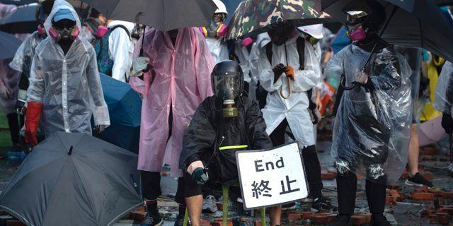 Demonstranter i Hongkong.  Ng Han Guan / TT NYHETSBYRÅN