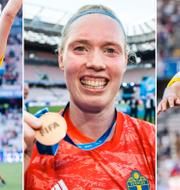 Linda Sembrant, Hedvig Lindahl och Sofia Jakobsson firar bronset efter matchen. Bildbyrån