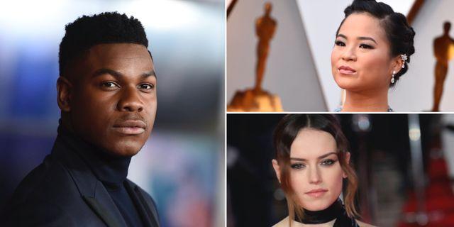 John Boyega stöttar sina kollegor Kelly Marie Tran och Daisy Ridley. TT