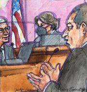 Arkivbild: Teckning från rättssalen när Apples vd Tim Cook avgav vittnesmål i tvisten med Epic Games.  Vicki Behringer / TT NYHETSBYRÅN