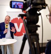 Jonas Sjöstedt håller pressträff. Stina Stjernkvist/TT / TT NYHETSBYRÅN