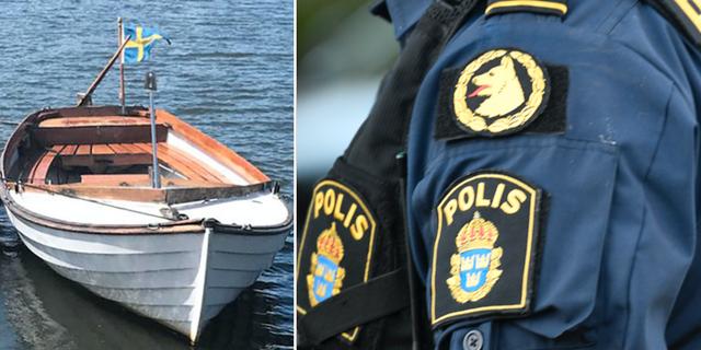 Båten som mannen misstänks ha försvunnit i samt en polis.  TT