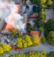 Branden på SLU Alnarp imorse. Johan Nilsson/TT / TT NYHETSBYRÅN