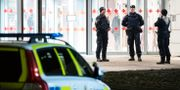 Poliser vid brottsplatsen. Johan Nilsson/TT / TT NYHETSBYRÅN