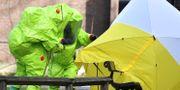 Platsen där Sergej Skripal och hans dotter Julia Skripal hittades  undersöks. Arkivbild. BEN STANSALL / AFP