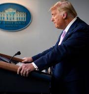 Donald Trump under en presskonferens på torsdagen. Evan Vucci / TT NYHETSBYRÅN