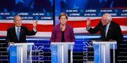 Mike Bloomberg, Elizabeth Warren och Bernie Sanders.  John Locher / TT NYHETSBYRÅN