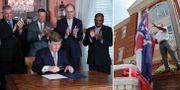 Guvernör Tate Reeves skriver under lagförslaget/En Mississippi-flagga hissas ner. TT