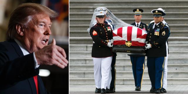 Donald Trump. Kistan på John McCains begravning. TT