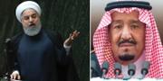 Irans president Hassan Rouhani och Saudiarabiens kung Salman. TT