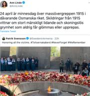 Ann Linde tweet. TT/Twitter