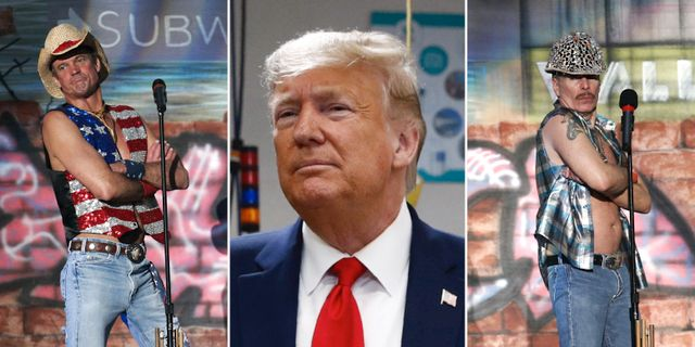 Två medlemmar i Village People, Trump. Arkivbilder.   TT