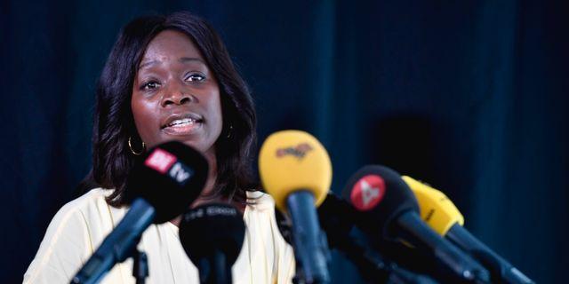 Sabuni under pressträffen. Naina Helén Jåma/TT / TT NYHETSBYRÅN