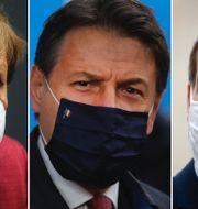 Merke, Conte och Macron.  TT