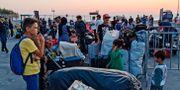 Flyktingar och migranter väntar på ett fartyg i hamnen Mytilene i Lesbos. STRINGER / AFP