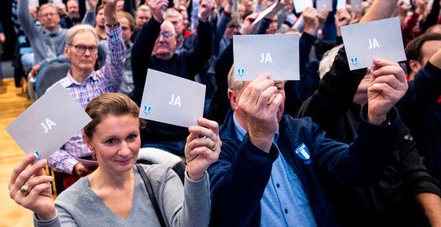 Medlemmar på kvällens årsmöte röstar. CHRISTIAN ÖRNBERG / BILDBYRÅN