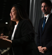 Liz Truss, Mary Ng och Justin Trudeau. Arkivbild.  TT