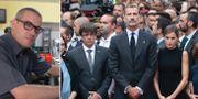 Bilden till vänster: Carlos Roqué. Till höger syns (från vänster) Kataloniens president Carles Puigdemont, Spaniens kung Felipe och drottning Letizia. TT
