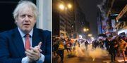 Boris Johnson/Tårgas vid protester i Hongkong, arkivbild. TT
