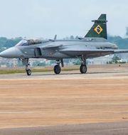 Gripen E på flygbasen Wing 1 i Brasilia på fredagen. Saab