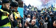 Poliser filmar supportrar som tänder bengaler/arkivbild, inför fotbollsallsvenskan mellan Hammarby och Djurgården. TT