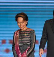 Malaysias premiärminister Mahathir Mohamad (vänster), Myanmars ledare Aung San Suu Kyi och Filippinernas president Rodrigo Duterte. LILLIAN SUWANRUMPHA / AFP