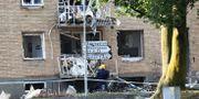 Bild från explosionen i Linköping den 7 juni. Jeppe Gustafsson/TT / TT NYHETSBYRÅN