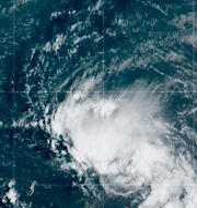 Satellitbild av stormen Laura ost om Puerto Rico. TT NYHETSBYRÅN