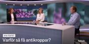 Mia Phillipson och Tom Britton i Aktuellt. SVT