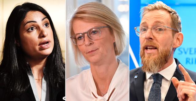 Nooshi Dadgostar, Elisabeth Svantesson och Jakob Forssmed. TT