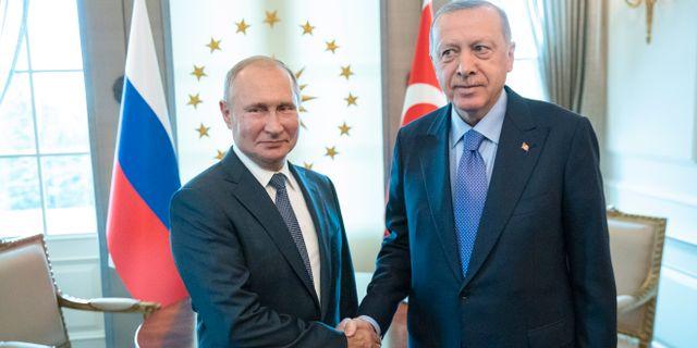 Putin och Erdogan under ett möte i september. Pavel Golovkin / TT NYHETSBYRÅN