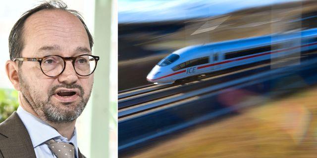 Arkivbilder: Infrastrukturminister Tomas Eneroth (S). Höghastighetståg i Tyskland. TT