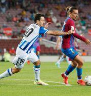 Antoine Griezmann (till höger) i matchen mot Real Sociedad. ALBERT GEA / BILDBYRÅN