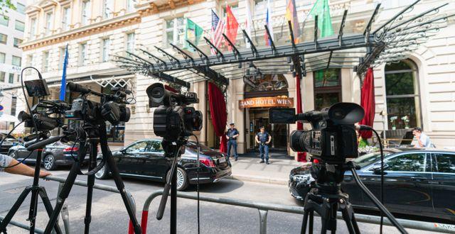 Förhandlingarna sker på ett hotell i Wien. Florian Schroetter / TT NYHETSBYRÅN