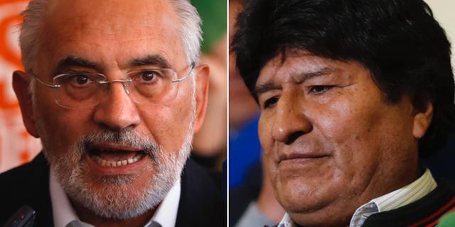 Carlos Mesa (till vänster) och president Evo Morales. TT