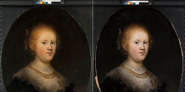 Tavlan före och efter restaureringen. TT NYHETSBYRÅN