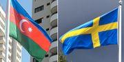 Azerbajdzjans och Sveriges flaggor. Arkivbilder. Wikimedia/TT